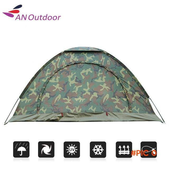 2 People Tent Camping Rainproof Outdoor Tourist Camping Tent For Bivouac Hiking Fishing H