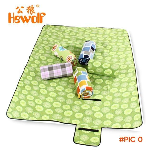 Hewolf Polar Fleece Pearl Cotton Picnic Mat Foldable Outdoor Leisure Camping mat Moisturep