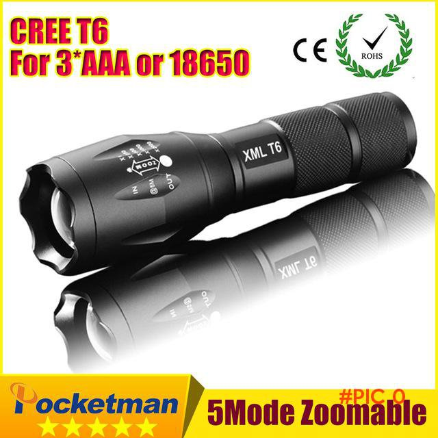 E17 CREE XM-L T6 3800Lumens cree led Torch Zoomable cree LED Flashlight Torch light For 3x