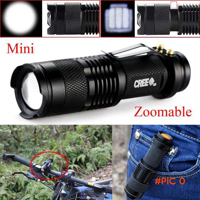 2016 New Mini 2000 Lumens Bright CREE Q5 LED Adjustable Zoom Focus Flashlight Torch Lamp L