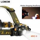 LOMOM Motion Sensing Rechargeable Cree Led Headlamp 18650 Sensor Head Light Cycling Flashl