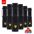 6PCS/lot Mini LED Torch 7W 2000lm LED Flashlight Adjustable Focus Zoom Flash Light Lamp Fr