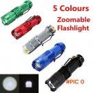 5 Colors Mini LED Flashlight Black CREE Q5 2000lm  Waterproof LED Laterna 3 Modes Zoomable