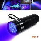 Black Mini Aluminum UV ULTRA VIOLET 9 LED FLASHLIGHT Torch Light Lamp Purple Light for Mon