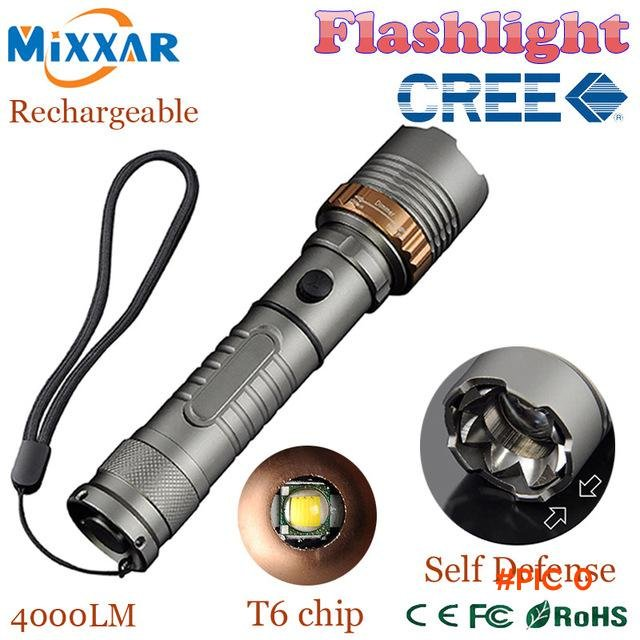 zk5 Self Defense LED flashlights Cree XM-L T6 4000LM Rechargeable Torch Lamps powerful Lan