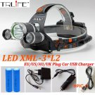 Headlight 9000 Lumens 3x CREE XM-L2 LED High Power Head light Headlamp Lamp +2*18650 Batte