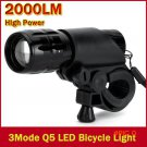New Bicycle Light 7 Watt 2000 Lumens 3 Mode CREE Q5 LED Bike Light Front Torch Waterproof