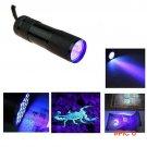 PromethFire UV Flashlight Black Mini Aluminum Portable UV Ultra Violet Blacklight 9 LED uv