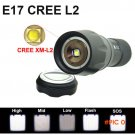 E17 CREE L2 led flashlight 18650 powerful torch waterproof XML-L2 2300lm Zoom 5 mode  led
