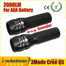 High-quality CREE Q5 2000 Lumens Lanterna Waterproof Mini Black LED Flashlight 3 Modes Zoo