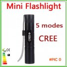 mini Black/Silver CREE Q5 Waterproof LED Flashlight 5 Modes LED Torch light free shipping BC387