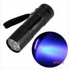Mini Aluminum Portable UV Flashlight Violet Light 9 LED UV Torch Light Lamp Flashlight BC392