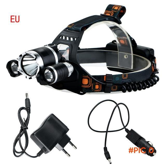 NEW 6000 Lumens LED Headlamp CREE XML T6 2R5 LED 4 Modes Rechargeable Headlight Head Lamp