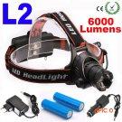 LED  Headlamp CREE L2 LED 6000Lm 3 mode Zoomable Waterproof Headlamp Headlight LED Head la