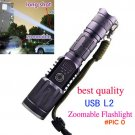 Best quality led L2 adjustable  zoomable torch with usb charging superbright lantern  lamp