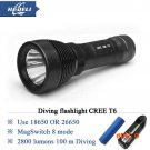 100 M Underwater diving flashlight torch led cree T6 lantern waterproof scuba flashlights
