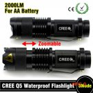 2015 Mini LED Torch 7W 2000LM CREE Q5 LED Flashlight Adjustable Focus Zoom flash Light Lam