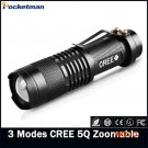 High Power 7W Cree Q5 3 modes Zoomable LED  tactical Flashlight Torch light for camping hu
