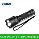 LED Flashlight CREE Q5 / XM-L T6 1000lm / 2000Lumens Torch Cree LED Light No 1x18650 batte