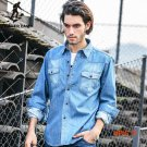 Pioneer Camp Light Blue Denim Shirt Men 100% Cotton Thick Mens Denim Shirt Men Shirt Long