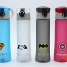 BPA Free Plastic Portable Water Bottle Cup Spiderman/Superman/Transformers/Batman/Captain