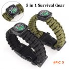 [5 in 1] Outdoor Survival Bracelet Rope,Paracord Whistle Gear Buckle Camping Ignition Equi