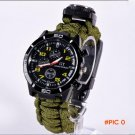 Outdoor Survival Paracord Watch Multifuctional 5 in 1 Camping Equipment With Compass Rescu