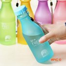 5 Candy Colors Unbreakable Frosted Leak-proof Plastic Cup 550mL BPA Free Portable Water Bo