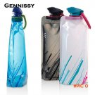 GENNISSY BPA-Free 600ML Water Bottle Foldable Soft Water Bag Portable Outdoor Sports Kettl