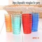 20pcs Disposable 30ml Glasses Cups Plastic Cup Neon Coloured Jelly Shot Colourful Transpar
