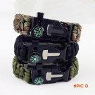 Men's Paracord Survival Bracelet Camping Outdoor Rescue Parachute Cord Wristband Flint