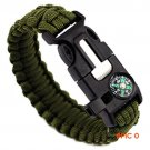 5 in 1 Outdoor Survival Bracelet Flint Fire Starter Gear Escape Paracord Whistle Cord Buck