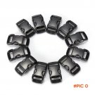 "100pcs/lot Black plastic 3/8"" / 10mm Curved Side Release Buckles Curved Clasp for 550"