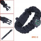 Outdoor Camping Paracord Parachute Cord Emergency Kit Survival Bracelet Rope with Whistle