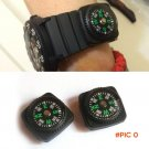 2pcs/lot Belt Buckle Mini Compass for Paracord Bracelet Outdoor Camping Hiking Travel Emer