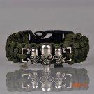 Survival Paracord Bracelet Outdoor Scraper Whistle Flint Fire Starter Gear Kits Alloy Skul