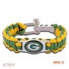NFL Green Bay Packers Paracord Bracelet Adjustable Survival Bracelet Football Bracelet , D