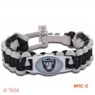NFL Oakland Raiders Paracord Bracelet Adjustable Survival Bracelet Football Bracelet , Dro