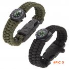 "Sports Camping 9"" Paracord Survival Bracelet Camping Compass Flint Fire Starter Whist"