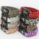 550 Paracord Bracelet Military Escape Survival Gear Parachute Cord Wristband with Flint Fi