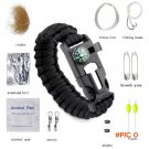 10 in 1 Ultimate Outdoor Survival Gear 550 Paracord Bracelet Emergency Cord Whistle Kit Fl