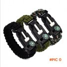 New Camping 9 Inches Paracord Survival Bracelet Rope WhistleKits With Compass Flint Fire S