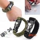 Gorgeous!!! Hot Survival Bracelet Outdoor Scraper Whistle Flint Fire Starter Gear Kits BC260