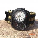 8 in 1Outdoor Survival Bracelets Camping Paracord Wristwatch Emergency Rope Fire Starter C