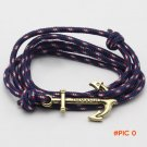 Handmade Fashion Jewelry Beach Sport Paracord Survival Bracelet Men Half Bend Pulsera Anch
