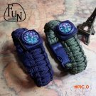 FunSeries Survival Mini Paracord Bracelet Compass Fire Starter Scraper Whistle  Scouts Mil