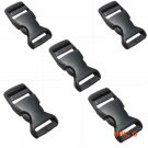 10pcs/set Black 25mm Plastic Side Release Buckles Sliders Fasteners For Dog Collar Webbing