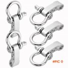 5 Pcs Silvery Alloy Bow Adjustable Paracord Bracelets Buckle Shackle Survival BC1211