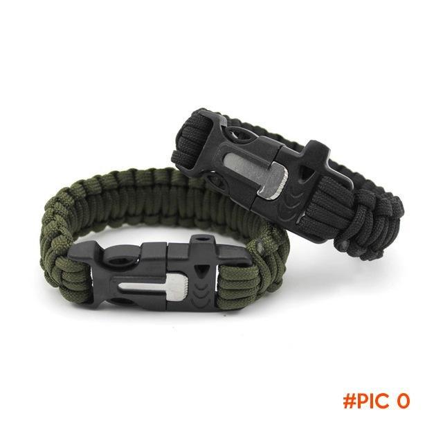 1PC Outdoor Camping Men Self-Rescue Survival Bracelet Flint Fire Starter Whistle Wristband