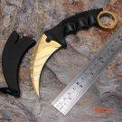 Cs go counter strike karambit golden sharp stainless steel game knife survival hunting kni